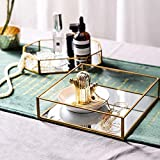 Ruhi Collections Square Glass with Brass Rim Mirror Base Vanity Tray for Home Decor Jewellery Organiser , Small, Gold