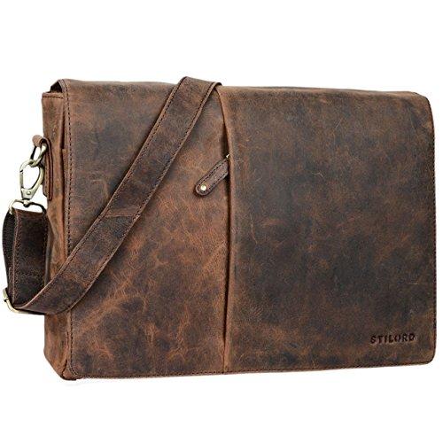 STILORD 'Joel' Messenger Bag Leder Herren Damen Umhängetasche Aktentasche Uni Messenger Bag Büro Office Vintage echtes Leder, Farbe:sepia - braun (Herren Messenger Bag Braun)