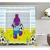 tgyew Sports Shower Curtain, Cute Hippopotamus Soccer Goal Keeper Football Play Cartoon Print, Fabric Bathroom Decor Set with Hooks, 60W X 72L Inche Extra Wide, Apple Green Baby Blue Purple