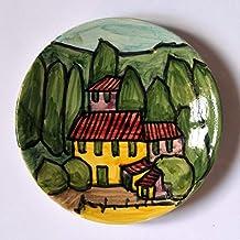 Paesaggio Toscano-Piatto di ceramica tecnica sotto cristallina,fatto a mano;diametro cm 12 alto cm2,2-Made in Italy,toscana,Lucca.Creato da Davide Pacini.