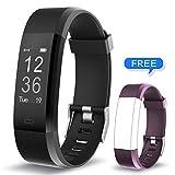 Fitness Armband Muzili YG3 Plus Fitness Tracker Sport Uhr Aktivitätstracker Schrittzähler mit Herzfrequenz Monitor / Kalorien Zähler / Schlafmonitor / Musik-Steuerung für Andriod und IOS (BK+Purple strap)