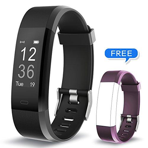 Muzili Fitness Armband YG3 Plus Fitness Tracker Sport Uhr Aktivitätstracker Schrittzähler mit Herzfrequenz Monitor/Kalorien Zähler/Schlafmonitor/Musik-Steuerung für Andriod und IOS (BK+Purple - Kalorien Zähler-monitor