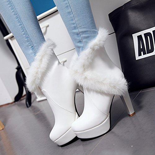 YE Damen Winter High Heels Stiefeletten Plateau mit Fell Blockabsatz 12cm Absatz Elegant Fashion Boots Party Schuhe Weiß