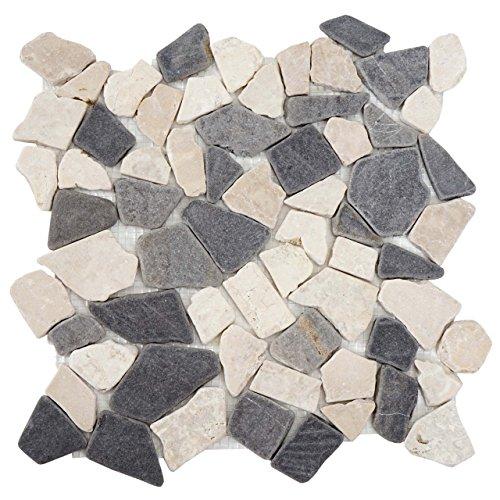 Akzent Fliesen Marmor (Mendler Steinfliesen Vigo T687, Marmor Naturstein-Fliese Mosaik, 11 Stück je 30x30cm = 1qm ~ grau-weiß)