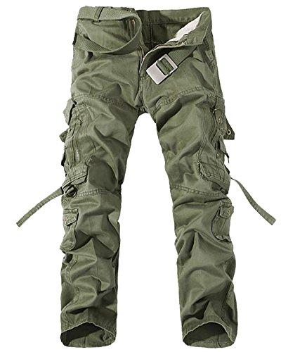 Homme Cargo Pantalons Travail-Multi Poches Vintage Style Combat Militaire Pants Vert