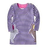 JERFER Mädchen Crewneck Langarm Casual Karikatur Stickerei Party T-Shirt Kleid Kinderkleider Festliche 2-8 T/Jahre (G, 5T)