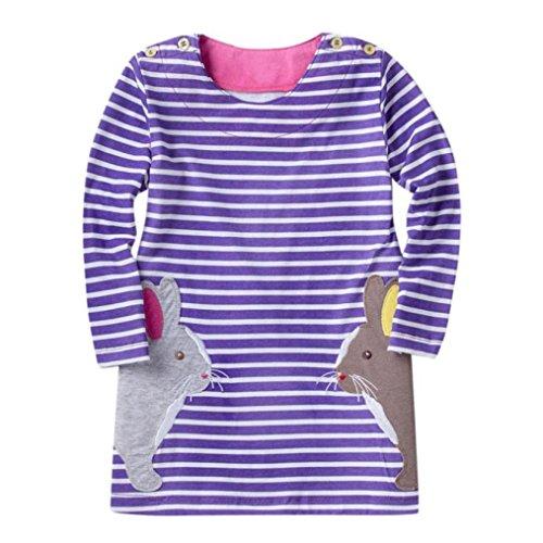 JERFER Mädchen Crewneck Langarm Casual Karikatur Stickerei Party T-shirt Kleid Kinderkleider Festliche 2-8 T/Jahre (G, 3T) (Haus Kleid)