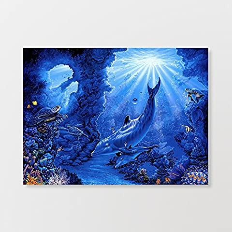 Dolphin et poissons Art mural graffiti Impression sur toile Poster 50,8x 71,1cm
