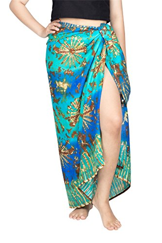 Lofbaz Donna Pareo da spiaggia Sarong Stola senza frange Chabaa Design #4 Blu e Mint