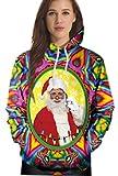 Damen Sweatshirts Weihnachten Pullover mit Tasche Druck Hässliche Weihnachtsmann Schnee Weihnachtsmotiv Hemd Kapuzenpullover Langarm Top Jumper Shirt Herbst Winter M