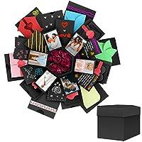 Powcan DIY Explosion Box Surprise Explosion Box Love Memory Scrapbooking Gift Box Photo Album Surprise Box for Birthday, Valentine, Anniversary, Wedding, Christmas Festival Gift, 5-Layer 6-Sided