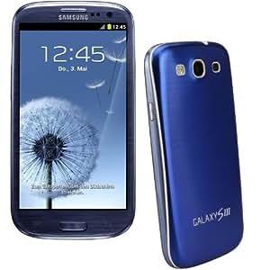 xubix Full Metal Akkudeckel für Samsung i9300 Galaxy S3 Blau Blue brushed Metall Aluminium mit dezent weißem Rand