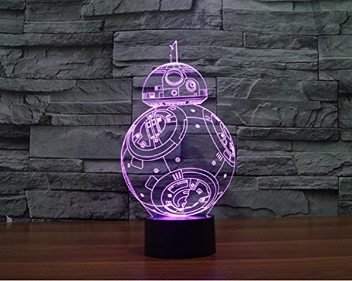 Image of SmartEra® 3D Star War Fuwa Force Awaken Night 7 Color Change USB Touch button LED Desk Table Light Lamp