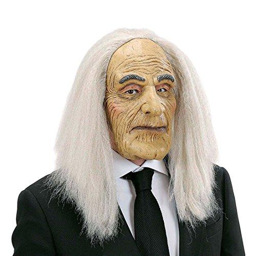 Opa Maske mit Haaren Alter Mann Faschingsmaske mit Perücke Diener Latexmaske Greis Gummimaske Professor Karnevalsmaske Buttler Kostüm (Kostüm Alter Mann Brille)