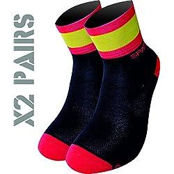 España TKS PACK 2 PARES CALCETINES SOFTAIR+(NEGROS), ciclismo, running, triatlon, golf y deportes en general. (XL(46-48 EU)(11-12 UK), NEGROS)