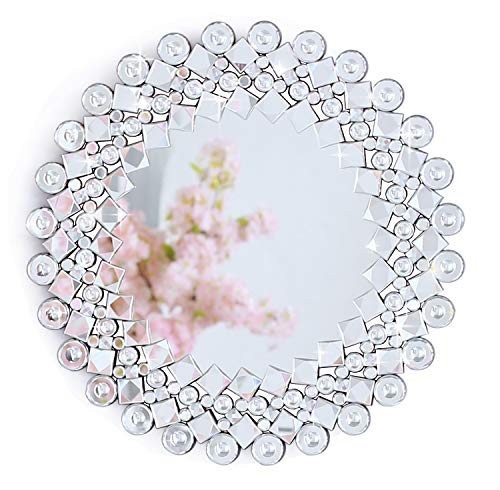 RICHTOP Sunburst Wall Mirror With Sparkly Jewelled Mosaic,Hollow-Out Design, Glamorous Moder Silver Crystal Mirror For Living Room (70x70cm)