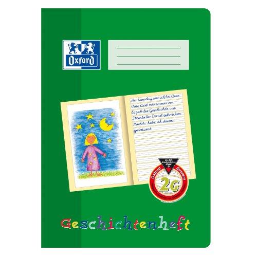 OXFORD 100050092 Geschichtenheft Schule 10er Pack A4 Lineatur 2G (2. Klasse) Lernsysteme 16 Blatt grün