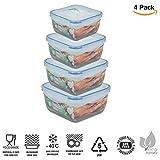 ARSUK Kunststoff Lebensmittel Behälter, wiederverwendbar Luftdichte Kunststoff Storage, mit Deckel stapelbar Mikrowelle Gefrierschrank Spülmaschinenfest Lunchbox Set - BPA-frei (Pack of 4)