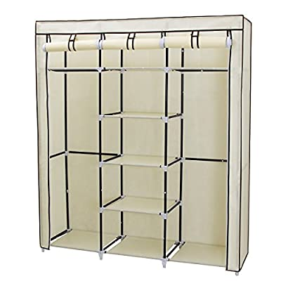 Songmics Canvas Wardrobe Cupboard Clothes Hanging Rail Storage Shelves 175 x 150 x 45 cm - cheap UK light store.