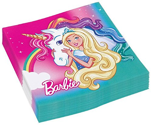 burtstag Party Feier Dekorationen Zubehör Papier Geschirr Barbie Prinzessin Dreamtopia Rainbow Unicorn (Servietten) ()