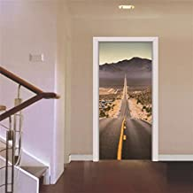 Papel pintado de puerta Lluvia Calle 3D DIY Autoadhesivo Vinilo Desmontable Estereoscópico Reformado Calcomanías de puerta Casa Decoración , C