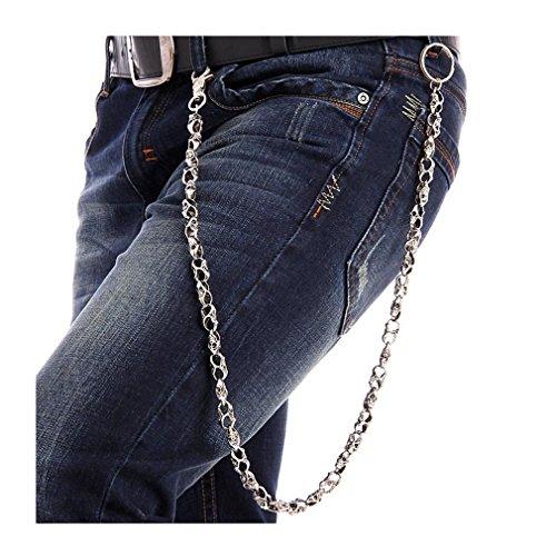 GoGou Schädel Schlüsselanhänger Hip Hop Hosen Ketten Knochen Link-Mode Schlüsselanhänger Herren Accessoires (Knochen Wallet)