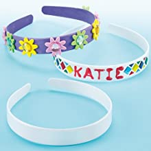Baker Ross Design Your Own Headband, For Kids To Paint, Decorate and Personalise for Arts and Crafts Activities, Assorted, (Pack of 6)