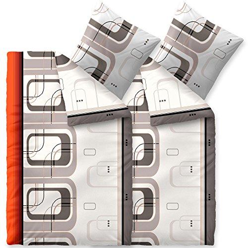 Flauschig weiches Winter-Bettwäsche-SET | verschiedene Größen | Baumwolle Biber 135 x 200 cm | OVP SPARSET 4 tlg. | CelinaTex 6000051 Touchme Pina | gemustert gestreift weiß grau orange