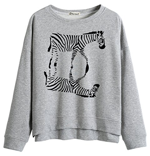 So'each Women's Animal Zebra Graphic Print Printed Sweatshirt Pullover Tops (Print Zebra Pullover)