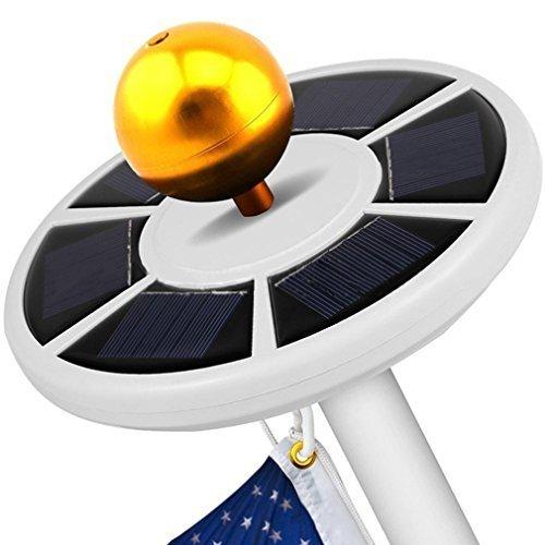 fahnenstange fuer garten owikar Solar Fahnenmast Licht 26LED hellste Top Montage Flaggen Stange Solar Power Energiesparend Einbauleuchte passend für die meisten 15bis 25ft Fahnenstangen Rasen Garten (weiß)