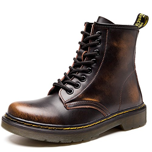 SITAILE Unisex-Erwachsene Bootsschuhe Derby Schnürhalbschuhe Kurzschaft Stiefel Winter Boots für Herren Damen Braun EU43