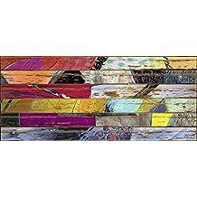 ARTESTOCK Cuadro Madera 140 x 60 cm. Lámina barnizada con Efecto palé Sobre contrachapado.