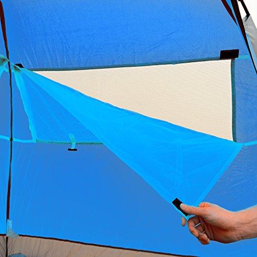 Qeedo Strandmuschel Quick Palm - Blau mit UV-Schutz (UV80 nach UV-Standard 801) - kleines Packmaß - schnell aufzubauender Sonnenschutz - 5