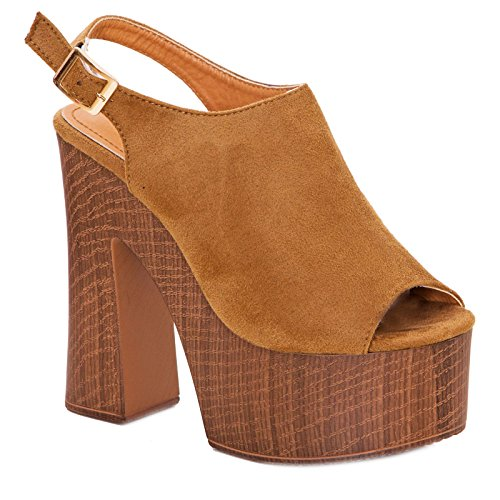 Toocool - Scarpe donna sabot scamosciati sandali comodi tacchi alti plateau nuovi DF3396 Camel