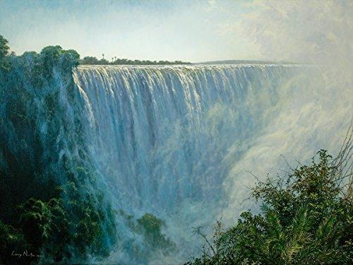 'Hohe Wasser'-Print, anerkannter Simbabwe Künstler Larry Norton-Giclée Druck auf Leinwand-Größe: für Wurfkiste X 760mm-Druck & Versand aus Südafrika-zugelassenen Verkäufer Tiger Print Shift