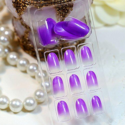 Full Round Head Nails (Evtech(tm) 24 PC Nagel-Abziehbilder Französisch Künstliche Full Cover False Nails Round Head Nail Art Tips Fashion Style glänzt Nagelkunstwerkzeug-Schwarz)