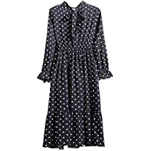 e6adc5d2dbb Xmiral Damen Kleid Floral Chiffon Langarm Druck Lässige Party Vintage Boho  Maxi Kleider