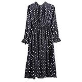 Xmiral Damen Kleid Floral Chiffon Langarm Druck Lässige Party Vintage Boho Maxi Kleider(L,Schwarz 1)