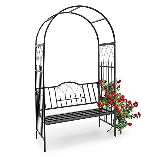Bakaji panchina 2 posti con arco da giardino per piante rampicanti in metallo 115x59x203 cm colore nero