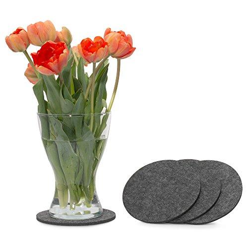 Runde Pack (FILU Filzuntersetzer rund 15cm 4er Pack (Farbe wählbar) dunkelgrau - Untersetzer aus Filz für Tisch und Bar als Glasuntersetzer/Getränkeuntersetzer für Glas und Gläser ? grau)