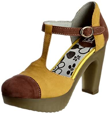 Fly London Women's Jama Purple/Yellow T Straps Heels P142109001 3 UK