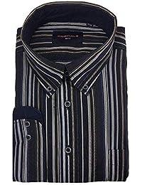 eb2c5afabd83c7 GCM Herren reine Baumwolle gestreift langärmlig Freizeit Hemden (3810)