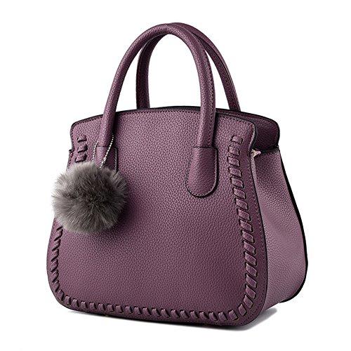 SHUhua Damen Messenger Bag Leder Damen Geldbörse Tote Handtasche für Mädchen Schwarz