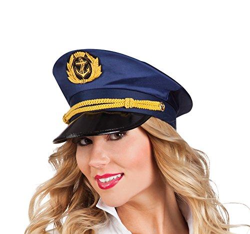 Boland 44362 - Kapitänsmütze für Erwachsene, Einheitsgröߟe, dunkelblau (Erwachsene Blau Seemann Kostüme)