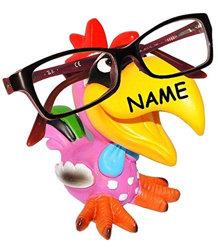 alles-meine.de GmbH Brillenhalter -  lustiger bunter Vogel - Hahn / Tukan / Papagei Ara - Gockel  - incl. Name - universal Größe - stabil aus Kunstharz - für Kinder & Erwachsen..