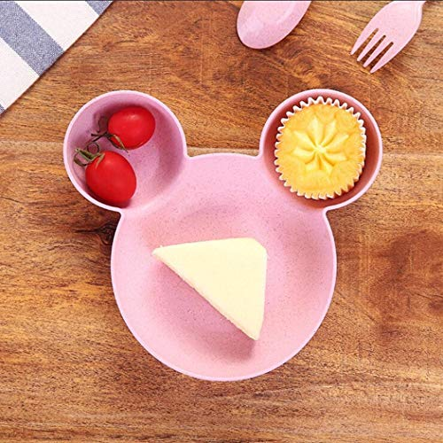 Wekold Babynahrung Teller Cute Schüssel für Kinder, Nette ökologische Teller mit Platz für Soße 18,5 x 17 x 3,5 cm