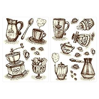 Sticker Mural kit Cuisine Sticker Mural Café Tasses de Café et Couverts Coller