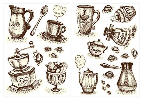 dekodino Wandtattoo Küche Wandsticker Set Kaffeetassen und Kaffeebesteck zum Kleben Wand Küche Sticker