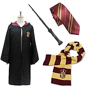 Robe of magic for children [Harry Potter cosplay costume gorgeous set of 4] 139cm ~ 148cm size Hogwarts Gryffindor emblem into magic wand and tie and scarf Harry Hermione Ron Harry Potter CaseEden of (cloak) and Harry (japan import)
