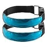kwmobile 2X LED Leucht Armband - XL Sicherheitsband für Outdoor Sport Joggen Hundehalsband helles Blinklicht reflektierend bei Dunkelheit - blau